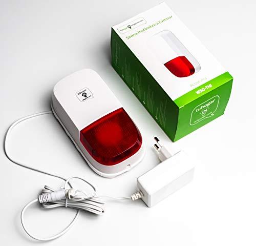 Sirena de Alarma THI para Exterior/Interior con Sonido de 95 dB   Incluye Adaptador 12v y Batería de respaldo interna   SIrve como sistema de Alarma Autónomo o como adicional para alarma THI