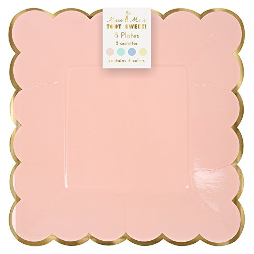 8 Assiettes Carré en carton 4 couleurs Pastel