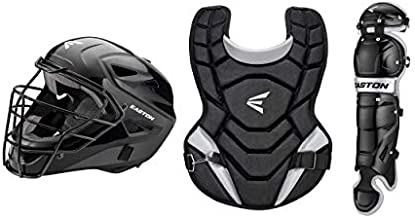 EASTON BLACK 2.0 Youth Catchers Protective Box Set | Jr Youth Age 6-8 | 2020 | Black | Helmet Small 6 1/8 - 7 inch Hat Size| 12 inch Chest Protector | 11.5 inch Leg Guards | Dual Density Foam