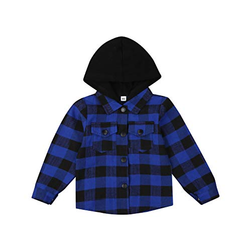 Toddler Baby Boy Hoodies Long Sleeve Button Down Plaid Hooded Shirt Coat Jacket With Pocket Outwear (Blue, 12-18 Months)