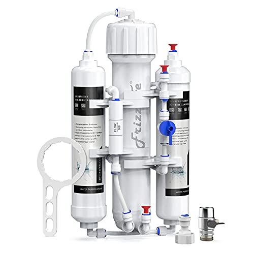 FRIZZLIFE Umkehrosmose Aquarium-Wasserfiltersystem, Osmotech Osmoseanlage, kompakt, 3 Stufen, tropische Fische, Diskus, Marine, kompatibel mit 50,75 oder 100 GPD Membran (50 GPD)
