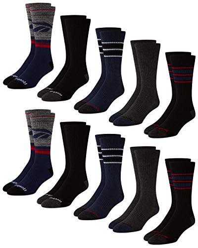 Reebok Herren Athletic Performance Cushion Crew Socken mit Feuchtigkeitskontrolle (10er Pack) (Schuhgröße: 39-47, Marineblau)