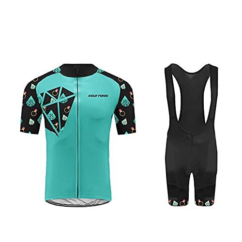 UGLY FROG MTB Completo Ciclismo Estivo Uomo, Magliette Ciclismo Maniche Corte + Pantaloncini Ciclismo Abbigliamento Ciclimo Professionale con 20D Gel Cuscino Traspirante per Bicicletta