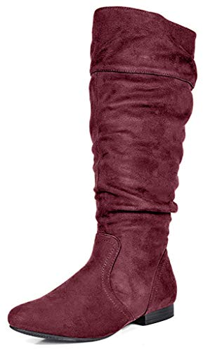 DREAM PAIRS Women's BLVD Burgundy Knee High Pull On Fall Weather Boots Wide Calf Size 9 M US