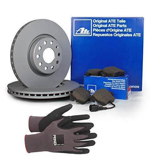 Inspektionspaket ATE Bremsen Set inkl. Bremsscheiben Ø 256 mm und Bremsbeläge für vorne enthalten, 100% passend für Ihr Fahrzeug, inkl. Priner Montagehandschuhe, AN166