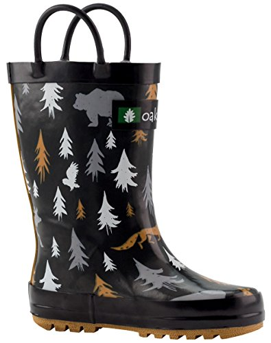 OAKI Kids Rain Boots with Easy-On Handles, Wildlife Tracker, 11T US Toddler