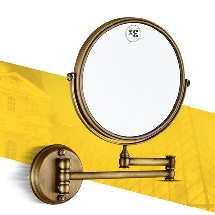 Mangeoo Cuarto de baño de estilo europeo cobre antiguo para colgar en la pared espejo Lupa plegable de belleza Hotel espejo doble,C 8 pulgada de cobre antiguo fondo espejo cosmético