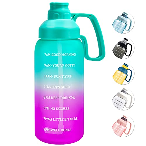 64 Oz Water Bottle with Straw, Half Gallon Water Bottle with Big Handle Tiffany Blue & Purple