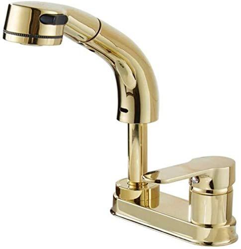 Grifos de cocina Grifo del fregadero Grifo del lavabo del baño antiguo Grifo de agua fría y caliente con doble orificio dorado