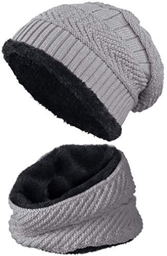 warm gefütterte Beanie + Schal mit Teddy-Fleece Fütterung mit Flechtmuster Wintermütze Einheitsgröße für Damen & Herren Mütze (4A) (Grau/Schwarz)