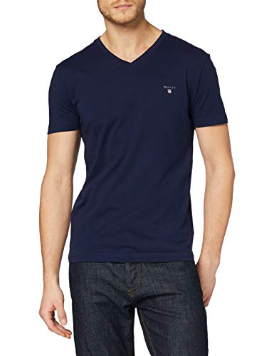 GANT Herren The ORIGINAL Slim V-Neck T-Shirt, Blau (Evening Blue 433), Medium