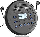 Lecteur CD Portable MONODEA, Lecteur CD Walkman Rechargeable avec Haut-parleurs intégrés pour Voiture et Usage Personnel, Lecteur CD Anti-Saut avec écouteurs