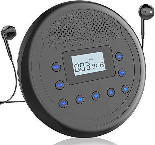 Monodea, tragbarer CD-Player, Walkman, wiederaufladbar, mit integrierten Lautsprechern für Auto und den persönlichen Gebrauch, CD-Player gegen Überschwemmung mit Kopfhörern