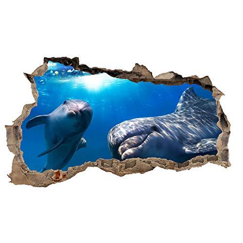 3D Wandtattoo Mauerloch Wandsticker Wandaufkleber Durchbruch Tiere selbstklebend H 60 x B 100 Schlafzimmer Wohnzimmer (WL02 Delfine)
