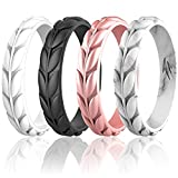 Zollen 4 Packs Olive Leaves Silicone Wedding Rings for Women, Rubber Wedding Bands Stackable Ring, Hypoallergenic Silicone, Size 7
