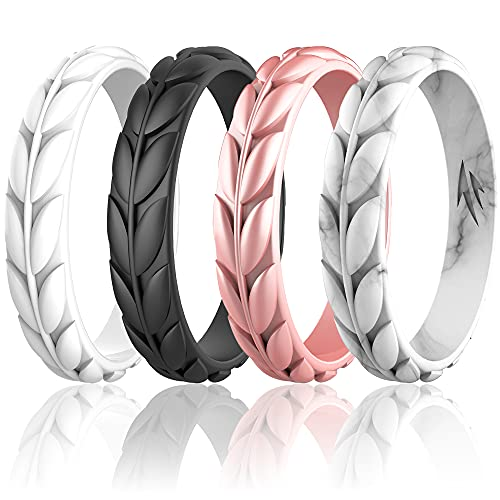 Zollen 4 Packs Olive Leaves Silicone Wedding Rings for Women, Rubber Wedding Bands Stackable Ring, Hypoallergenic Silicone, Size 5