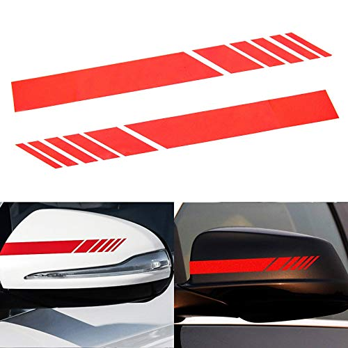 Xotic Tech 2pcs Red Sporty Racing Style Vinyl Decals Rearview Mirror Stripe Stickers for Mercedes Benz W204 W212 C Class etc.