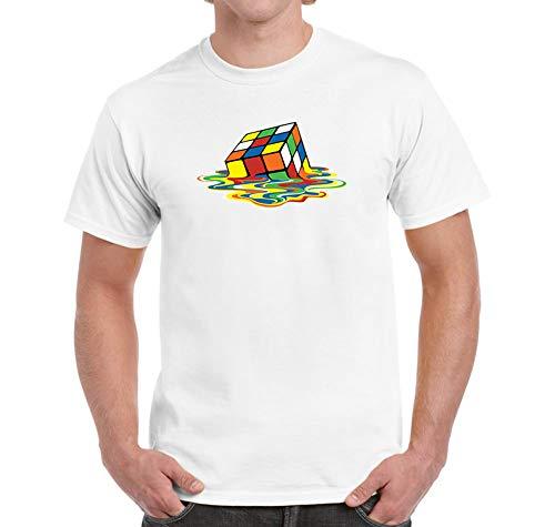 FARQ - Camiseta de cubo de Rubik derretido Blanco blanco 50