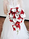 Abbie Home White Calla Lily and Rose Cascading Bride Bouquet Waterfall Wedding Flower - Lily Rhinestone Jewelry Brooches and Satin Ribbon Décor (Red)