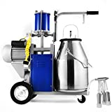 VEVOR Electric Milking Machine 1440rmp/min 10-12 Cows Per Hour Portable Milking Machine 0.55 KW Agricultural Milking Machine Single with 25L 304 Stainless Steel Bucket for Cows Cattle (for Cow)