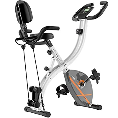 Afully Folding Magnetic Exercise Bike Adjustable Resistance Home Indoor Stationary Upright Cycling Bike With Arm Resistance Bands ,Dumbbells, LCD Monitor ,Phone Holder