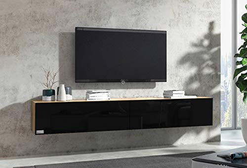 Wuun® 160cm/ Front Schwarz-Hochglanz (Korpus Eiche)/8 Größen/6 Farben/TV Lowboard TV Board hängend Hängeschrank Wohnwand/Somero