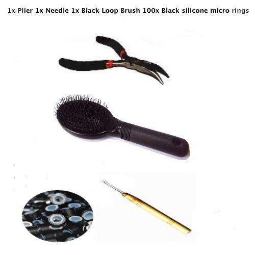 Kit plume Boucle Extension Cheveux 1 x Pince 1 x Aiguille 1 x noir boucle 1 x Brosse 1 x Anneaux en silicone noir 5 mm.