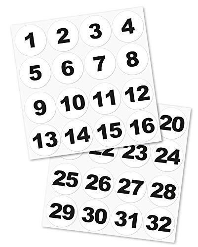 Runde Zahlenaufkleber Nr. 1-32, Größe: 60 mm, vinyl, schwarz/weiß