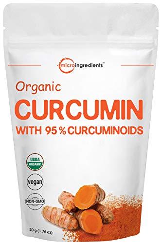 Polvo de curcumina orgánica pura (extracto de cúrcuma natural y suplementos de cúrcuma), rico en antioxidantes y vitamina inmune, los mejores suplementos para soporte del sistema inmune y articulación, 50 gramos, vegano.