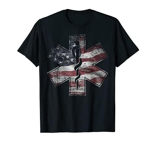 Camiseta paramédica del 4 de julio EMS EMT USA bandera americana Tee Camiseta