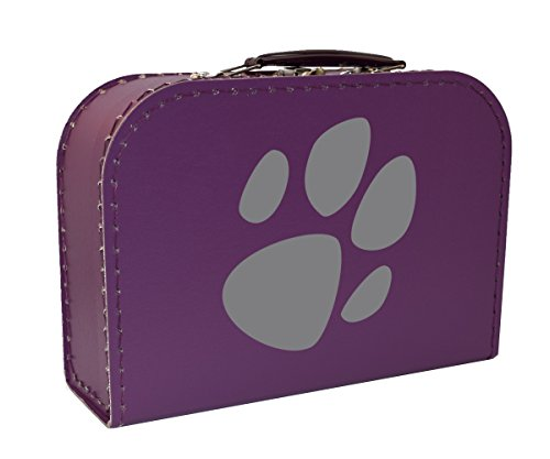 Children Suitcases Violet with Motif Paw, Cardboard Suitcase, 25cm - Paw Grey, 25 x 17,5 x 8,5 cm