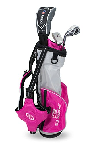 'US Kids Golf Ultralight Series Set 39 Pink Edition, 96 cm – 103 cm, Age 3 – 5 Years, Golf Club For Kids, Mazza da Golf per bambini, Fairway driver, Iron/Ferro 7, Putter, Bag, Maximum Distance and Control, Soft Feel, Lightweight, Stainless Steel