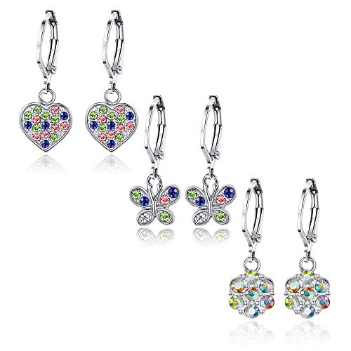 Adramata 3 Pairs Heart Leverback Ohrringe für Frauen Mädchen Blume Screwback Stud Dangle Kinder Ohrringe Edelstahl-Set für Kinder