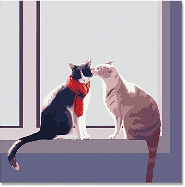 Superlucky Zwei Katzen Eule Katze Tiere Hand gemalt auf Leinwand Digital DIY Ölgemälde von Zahlen Wanddekor auf Leinwand Ölfarbe Färbung 40x50cm mit Rahmen B07K6LHZ3P   Lass unsere Waren in die Welt gehen