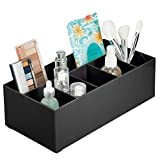 mDesign Organizador de cosméticos para el Lavabo o el tocador – Caja organizadora de plástico Libre de BPA para Guardar el Maquillaje – Moderna Cesta de baño con 6 Compartimentos – Negro