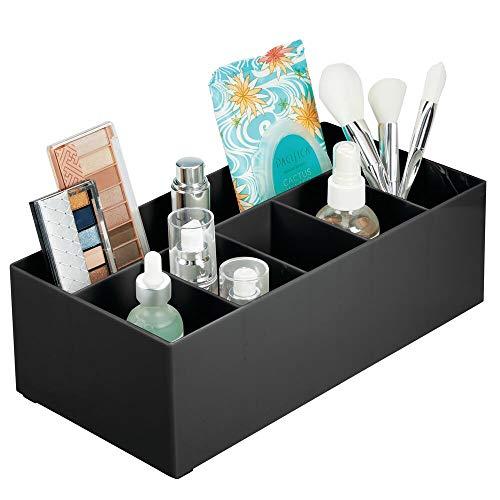 mDesign Schminkaufbewahrung für Wasch- oder Schminktische – Aufbewahrungsbox aus BPA-freiem Kunststoff für Make-up – moderner Kosmetik Organizer mit sechs Fächern – schwarz