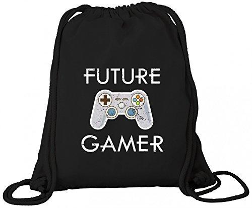ShirtStreet Geek Nerd Gamer Controller Premium Bio Baumwoll Turnbeutel Rucksack Stanley Stella Future Gamer, Größe: onesize,Black