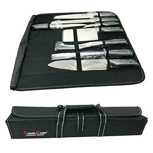 Coltelli set 8 pezzi con borsa da trasporto, coltelli Schuster professionale con affilacoltelli e Borsa elegante da trasporto