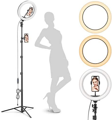 Radiance 10 Ring Light with Tripod Stand 74 Tall Dual Phone Holders 3 Lighting Selfie Circle product image