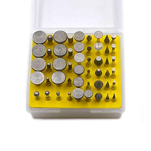 Oudtinx 50pcs Diamond Coated Grinding Head Grinding Burrs Set for Dremel Rotary Tool