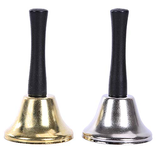 WIFUN 2PCS Metal Hand Bell, Wooden Handle Loud Bell, Use for Santa Claus, Wedding Events, Hotel Counter, School, Reception Restaurant (Gold and Silver)