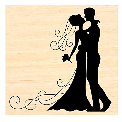 Wedding Couple-Bride and Groom Rubber Stamp P58