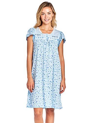 Casual Nights Women's Cap Sleeve Floral Nightgown - Blue - XX-Large