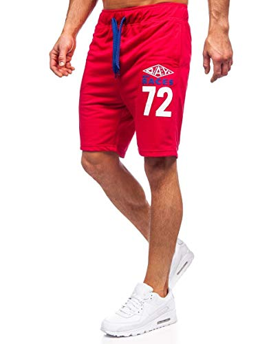 BOLF Hombre Pantalón Corto Pantalones Deportivos Impresión Shorts Pantalones de Algodón Bermudas Print Básicos Pantalón Corto de Fitness Estilo Urbano Extreme EX05 Rojo M [7G7]