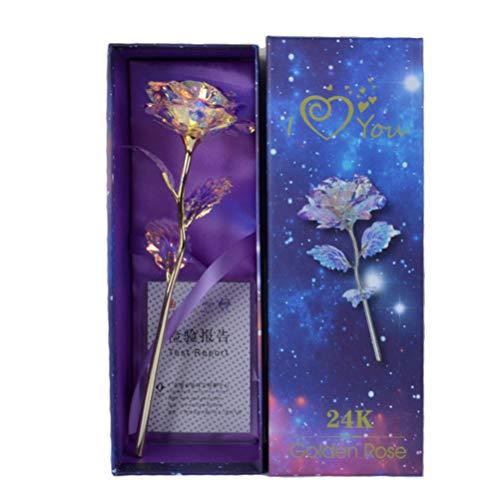 OUTEYE 24K Lámina chapada en Oro Rosa Artificial Forever Rose Día de San Valentín Regalo Creativo Forever Love Decoración de la Boda Iluminación Flor