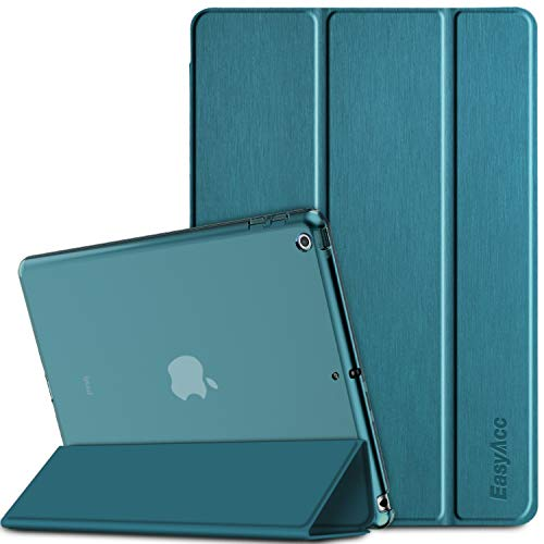 EasyAcc Hülle Kompatibel mit iPad 9.7 2018/ iPad 6 Generation/iPad 2017/ iPad 5 Generation, Ultra Dünn Transluzent Matt Rückseite Abdeckung mit Auto aufwachen/Schlaf Funktion (Pfauenblau)