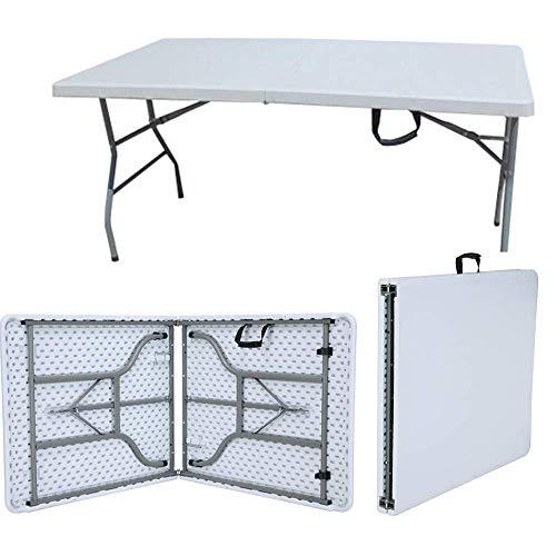 PiuShopping - Mesa de maleta plegable, plegable, color blanco, para jardín, pícnic, camping, acero barnizado