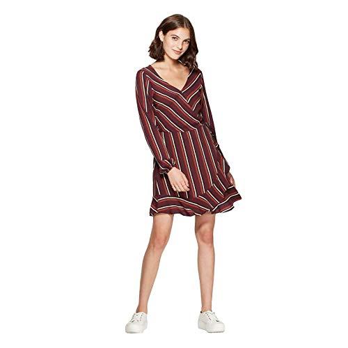 Xhilaration Women's Striped V Neck Long Sleeve Wrap Mini Dress Burgundy Medium