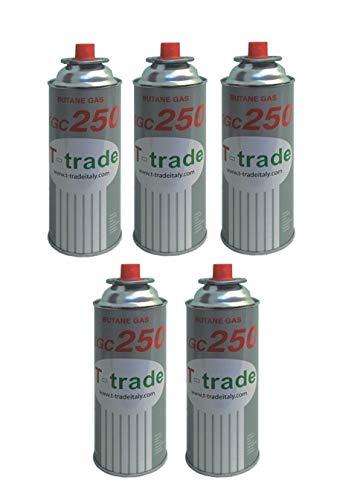 Hoge 5 stuks - cartridge gaspatroon GPL 250 g art. KCG250 ideale soldeerbout voor open haard of oven, geschikt voor kamperen, Brunner