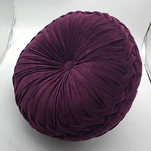 GANE Cojín de Tiro de Pintuck de Color sólido, cojín de sofá de Terciopelo Redondo Plisado para Silla Cojines de Suelo Cojín de Asiento de Felpa Hecho a Mano para el hogar, al Aire Libre